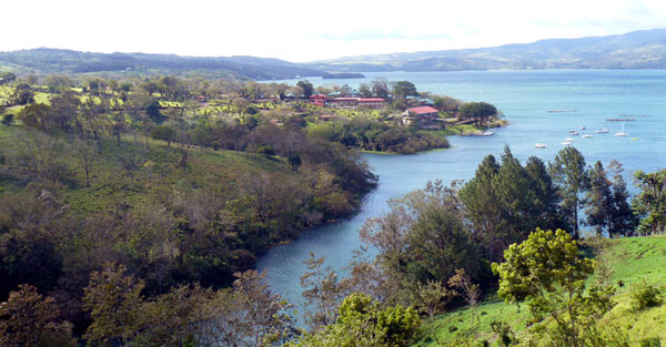 From atop the hill at the lake end of the property, there's a beautiful view of the lake and the cove where Puerto San Luis Lodge and Yacht Club has a dock and moorage buoys.