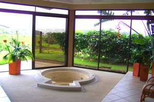 Delighful Living Room Jacuzzi Beyond A Hallway With Bathroom On