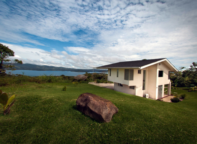 Lake and volcano-view home on 3/10 acre.