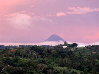 The home has amazing volcano and lake views even though it is in a forested area nearly at the center of Nuevo Arenal.