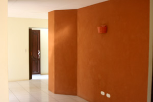 An attractively shaped and painted wide hallway leads to the bedrooms.