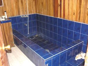 The Large Single Bathroom Has A A Deep Custom Made Tub.