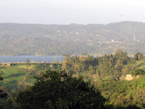 Nuevo Arenal can be seen in its hilltop location in this view taken from the southern side of Lake Arenal.