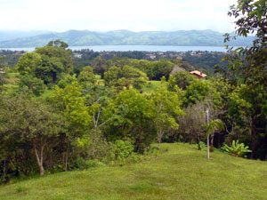 Nuevo Arenal sits partly on the far ridge above the lake.