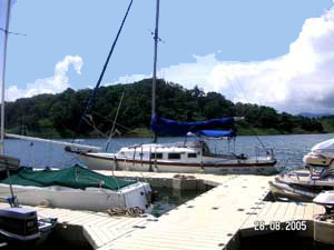 Near Nuevo Arenal is a gated community with a floating dock.