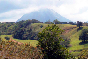 The view of Arenal is especially imposing from this site halfway up the lake's east shore.