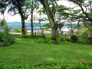 The basement apartment opens on landscaped grounds with a great view of Lake Arenal.