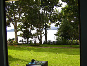 The picture window in the living room presents this view of Lake Arenal.